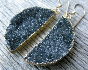 HALF MOON grey drusy geometric earrings fine gray crystal druzy gold filled