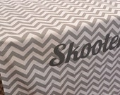 DESIGNER Dog Crate Cover - YOU Choose Fabric - Zig Zag Chevron in Ash Grey/White shown - Dog Bed Duvet Covers - Personalization Extra
