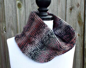 Double Knit Circle Scarf Womens Scarf - Pink Grey Cowl Pink Grey Scarf - Cowl Scarf Womens Accessories Spring Fashion - READY TO SHIP