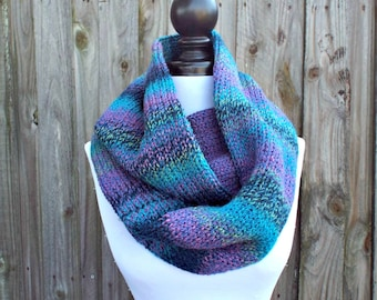 Double Knit Infinity Scarf Womens Knit Circle Scarf - Caribbean Blue Scarf Blue Cowl - Chunky Scarf Womens Accessories