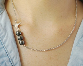 Swallow Necklace Soar Necklace Hematite Necklace Modern Necklace Bridesmaid Gift Bridesmaid Jewelry Simple Necklace Bird Necklace Gift