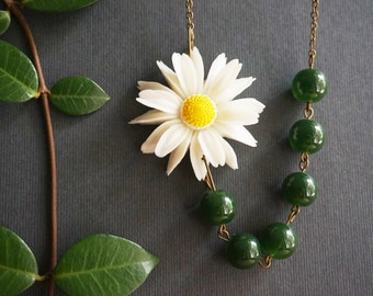 Daisy Necklace Statement Necklace Flower Necklace White Necklace Yellow Necklace Forest Green Necklace Fall Necklace Bridesmaid Jewelry Set