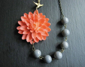 Statement Necklace,Coral Flower Necklace,Coral Floral Necklace,Flower Necklace,Coral Necklace,Grey Necklace,Coral Jewelry,Grey Jewelry,Gift