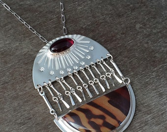 Australian print stone and garnet statement necklace - unique necklace - fringe necklace - kinetic necklace