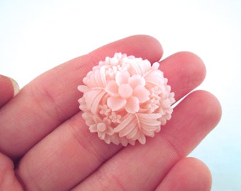 30mm flower resin cabochons, pink reproduction of vintage cabochons