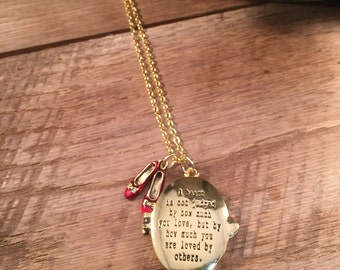 Wizard of Oz Necklace, A Heart is Not Judged by How Much You Love Locket, Wizard of Oz Jewelry, Gift for her, Gift Under 30, Custom Locket