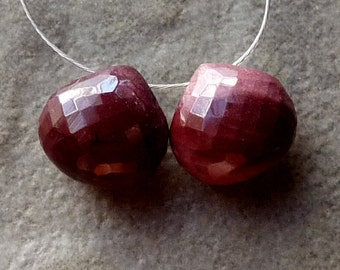 AAA Creamy Mookaite Faceted Heart Briolette - 9mm - Pair