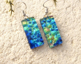 Blue Green Gold, Sterling Silver Earrings,  Blue Green Earrings, Dichroic Glass Earrings, Fused Glass Jewelry, Dichroic Jewelry, 060316e105