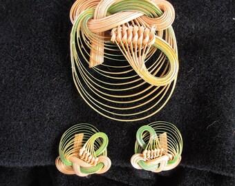 Vintage Jewelry Set Natural Bamboo Brooch Pin Screw Back Earrings Retro Handmade Formosa