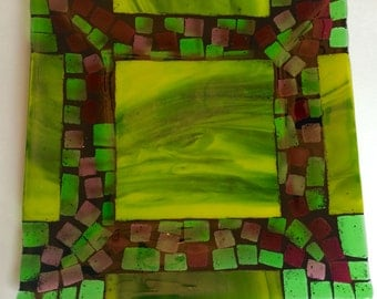 Fused glass mosaic styl green and purple square plate One of a kind