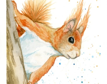 "Red Squirrel Print - Watercolor - Animal Art - Nursery Art - Illustration - Wall Decor - sizes 5""x7"", 8""x10"", 11""x14"""