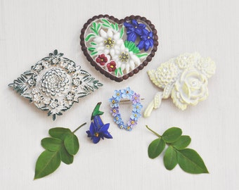 5 Vintage Celluloid Flower Brooches - edelweiss , rose , forget me not , gentian - early plastic Austrian German Swiss pins