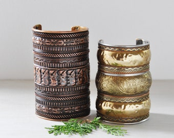 2 Vintage Gauntlet Cuff Bracelets - long wide copper and brass bracelets with elephant designs - women's medium large