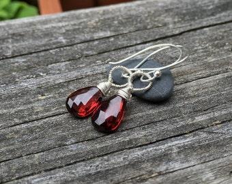 Garnet Gemstone Sterling Silver Wirewrap Earrings