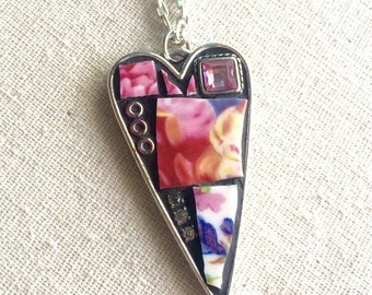 Flowers for Mimi Mosaic Heart Pendant