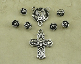 8 Piece TierraCast 2-1 Our Lady Rose Virgin Mary Rosary Pieces > Talavara Cross Catholic Religion Medallion Silver Plated Lead Free Pewter