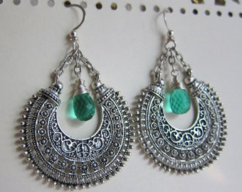 Emerald Mandala - Indian-inspired chandelier earrings with emerald hydro quartz