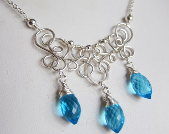 Glacier Lace - Sterling Silver Wirework with Swiss Blue Hydro Quartz