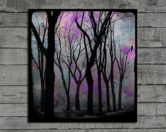 Forest Print, Crow, Purple, Woods, Nature Image, Bird In Trees, Woodland Art, Surreal Photograph -  Purple Zen