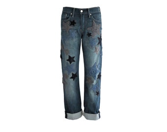 Made to Order - Add Crochet Star Patches to Your Own Jeans - Restyle / Upcycle