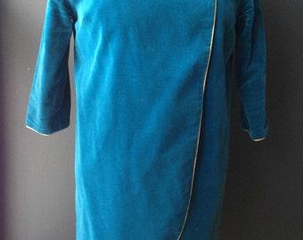 Alfred Shaheen Tunic Jacket 1960s Blue Velvet Coat Topper Blazer Top Hawaii Honolulu