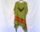 FREE U.S. SHIPPING ~Size 4X~ Spring Green Medallion blouse ~ top ~ gypsy / lagenlook / hippie / boho chic / wearable art ~ by mia baggali