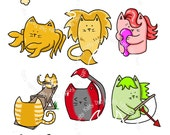 Digi Stamp Instant Download. Kitty Star Sign Set - Knitty Kitty Digis No. 25-28