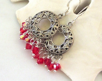 Red Crystal Earrings, Christmas Red Chandelier Earrings, Swarovski Crystal Dangles, Sterling Earrings, Red Holiday Earrings, Elodie