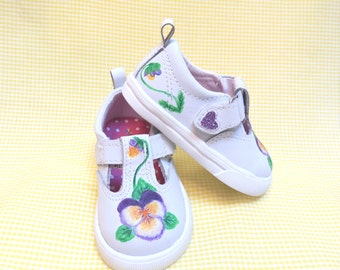 Toddler Shoes, Baby Shoes, T Strap, Mary Janes, Leather, Size 3, Painted, Pansies, Purple, Yellow, Violet, Hand Painted, Colorful, Original