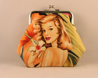 Island Pin Up Girl Clasp Kisslock Change Coin Purse