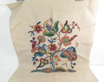 Vintage Jacobean embroidery panel, upholstery embroidery, unframed, floral embroidery