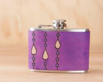 4oz Flask - Leather Hip Flask in the Purple Rain pattern - Handmade with raindrops in purple