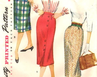 Simplicity 1430 ONE YARD SKIRTS Slim Wiggle Straight Vintage 1950s ©1955