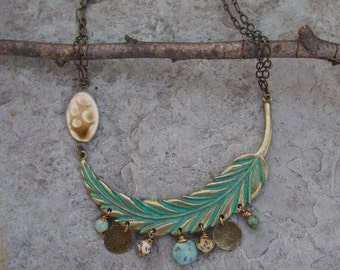Green Patina Brass Feather Necklace