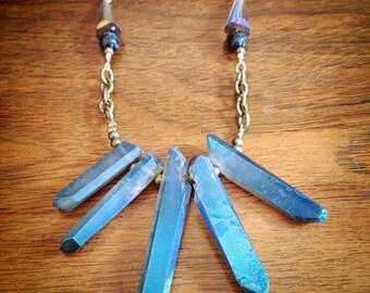 Metallic quartz Statement necklace - Handmade natural jewelry