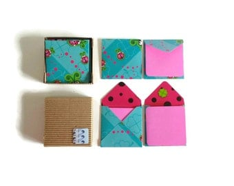 Ladybugs Cute Stationery Set, Turquoise Square Small Envelopes, Pink Blank Note Cards, Greetings, Gift Tags Under 10, Love Expressions