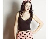 SMALL Black Peach Underwear, Handmade Polka Dot Panties, High Waisted Panties, Peach Polka Dot lingerie, Peach Black panties
