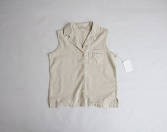putty cotton blouse   sleeveless collared blouse