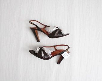 snakeskin heels / strappy sandals / size 7 heels