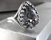Small Black Diamond Crystal Teardrop Ring, Antiqued Silver Crown Bezel, Pear Shape Swarovski Crystal Ring, Antiqued Silver Adjustable Ring