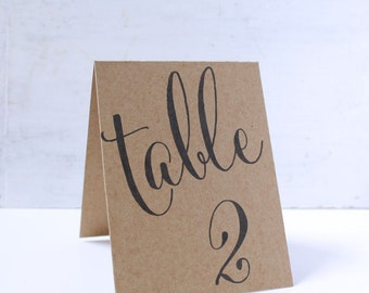 Tent Wedding Table Number Signs, Double Sided Table Cards, Tented Table Decor