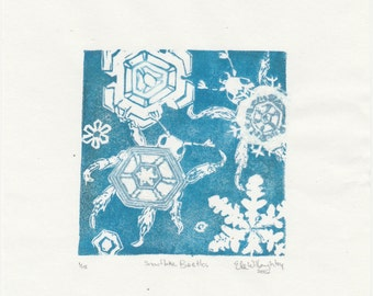 The Snowflake Beetles Mini Print, linocut imaginary miniscule beetle camouflaged as snow flake, Crypozoology Lino Block Print Collection