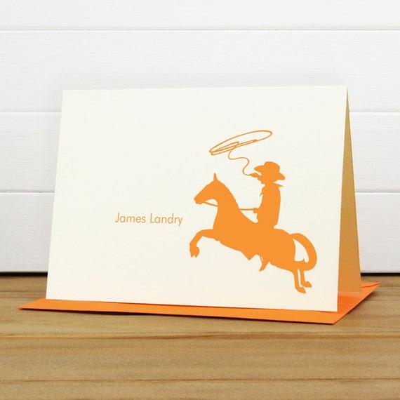 Personalized Stationery Set / Personalized Stationary Set - COWBOY Custom Personalized Note Card Set - Children Masculine Boy Baby