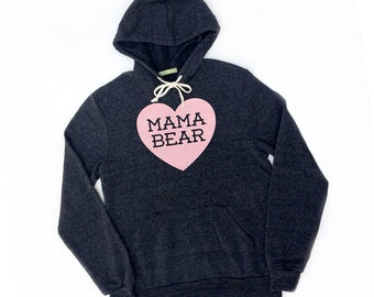 Mama Bear with Heart Heather Black Hoodie Sweatshirt with Pink Print - Cozy Winter Gift for Mom, Christmas Present, Photos