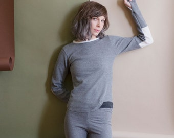 CHARCOAL Thermal Jammies, pajama sets or separates. Long sleeve and thumbhole waffle knit top and matching thermal leggings.