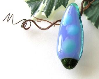 Blue Tree Pin - Simple Christmas - Fused Glass Pin - Simple Brooch - Aquamarine Blue Border - Gift