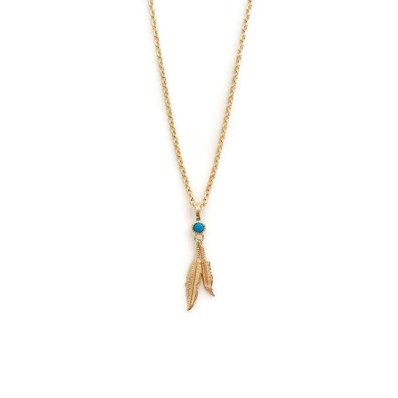 gold feather necklace with turquoise accent boho by