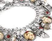 "Christmas Jewelry, Silver Charm Bracelet, Santa Claus Jewelry, Christmas Charm Bracelet, ""The Vintage Santa"""
