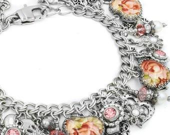 Pearl Heart Bracelet, Freshwater Pearl Charm Bracelet, Pearl Bracelet, Fresh Water Pearl Jewelry, Heart Jewelry