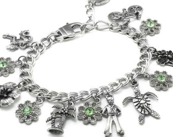 Personalized Starter Charm Bracelet with 7 Charms of your choice, Build your own Charm Bracelet, Custom Charm Bracelet